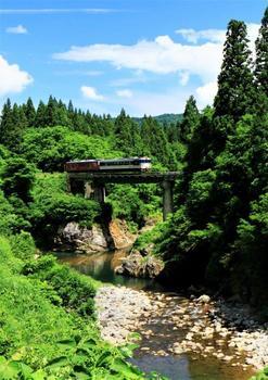 154破間あぶるま川を渡るキハ48-545只見縁結び+キハ48-1533新潟色.jpg